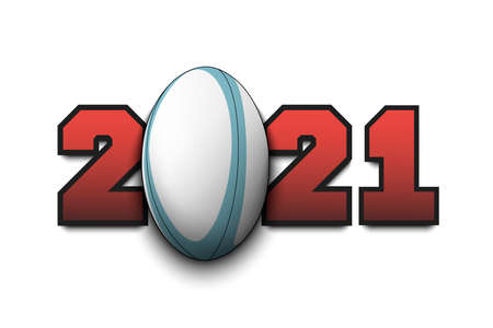 New Year numbers 2021 and rugby ball on an isolated background. Creative design pattern for greeting card, banner, poster, flyer, party invitation, calendar. Vector illustration