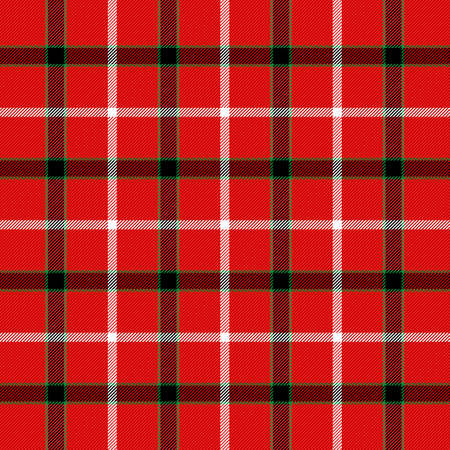 Christmas and new year tartan plaid. Scottish pattern in black, red and green cage. Scottish cage. Traditional Scottish checkered background. Seamless fabric texture. Vector illustration