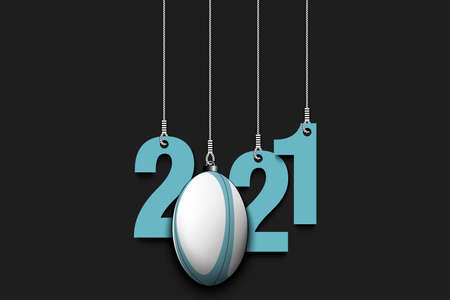 2021 New Year and rugby ball as a Christmas decorations hanging on strings. 2021 hang on cords on an isolated background. Design pattern for greeting card. Vector illustration