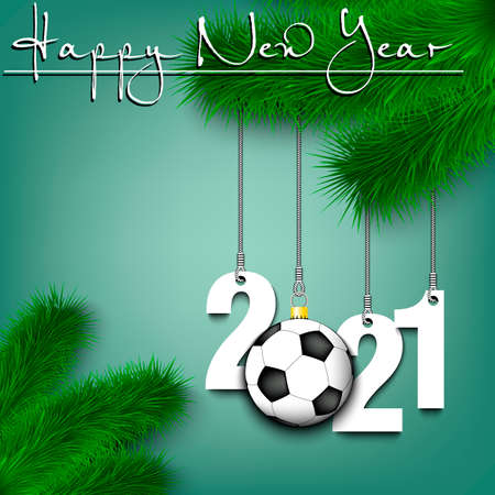 Happy New Year. Numbers 2021 and soccer ball as a Christmas decorations hanging on a Christmas tree branch. Design pattern for greeting card, banner, poster, flyer, invitation. Vector illustration Illusztráció