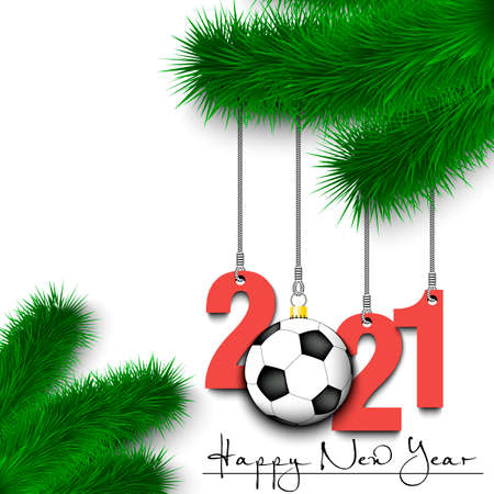 Happy New Year. Numbers 2021 and soccer ball as a Christmas decorations hanging on a Christmas tree branch. Vector illustration