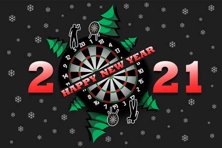 Happy new year 2021 and dartboard with Christmas trees on an isolated background. Player throws a dart at the target. Design pattern for greeting card. Vector illustration