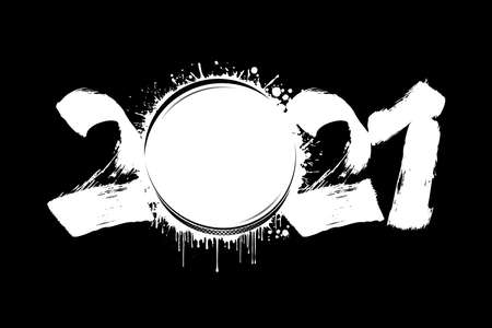 Abstract numbers 2021 and hockey puck made of blots in grunge style. 2021 New Year on an isolated background. Design pattern. Vector illustration