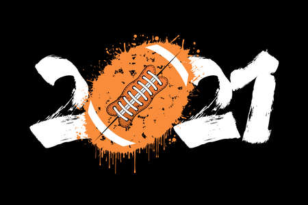 Abstract numbers 2021 and football ball made of blots in grunge style. 2021 New Year on an isolated background. Design pattern. Vector illustration