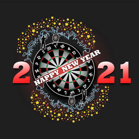 Happy new year 2021 and dartboard with football player and fans. Creative design pattern for greeting card, banner, poster, flyer, party invitation. Vector illustration