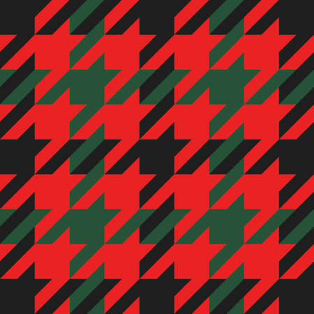 Goose foot. Christmas Pattern of crow's feet in red and green cage. Glen plaid. Houndstooth tartan tweed. Dogs tooth. Scottish checkered background. Seamless fabric texture. Vector illustration