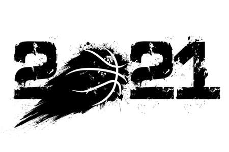 Abstract numbers 2021 and basketball ball made of blots in grunge style. 2021 New Year on an isolated background. Design pattern. Vector illustration Vecteurs