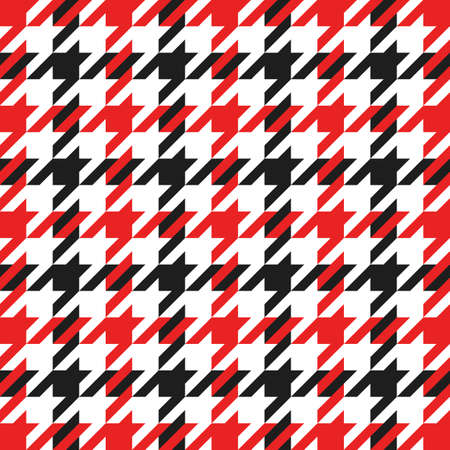 Goose foot. Christmas Pattern of crow is feet in red and black cage. Glen plaid. Houndstooth tartan tweed. Dogs tooth. Scottish checkered background. Seamless fabric texture. Vector illustration