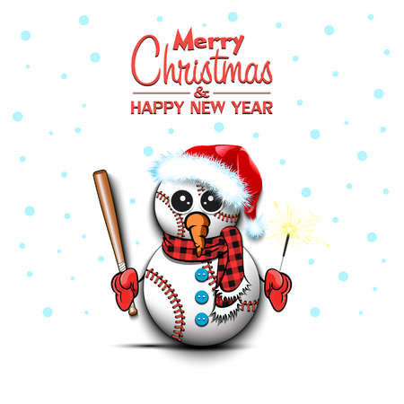Merry Christmas and happy new year. Snowman from baseball balls with broom and sparklers on an isolated background. Design pattern for banner, poster, greeting card, invitation. Vector illustration