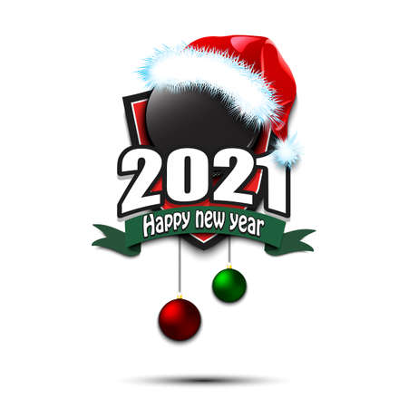 Happy new year 2021. Hockey logo template design. Hockey puck in santa hat. Pattern for banner, poster, greeting card, party invitation. Vector illustration