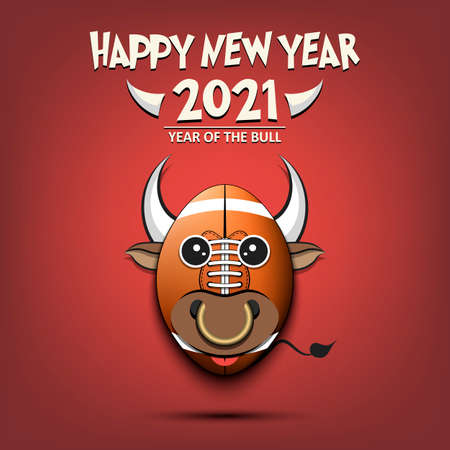 Happy New year. 2021 year of the bull. Cute muzzle bull in the form of a football ball. Football ball made in the form of a cow. Greeting card template with for 2021 new year. Vector illustration