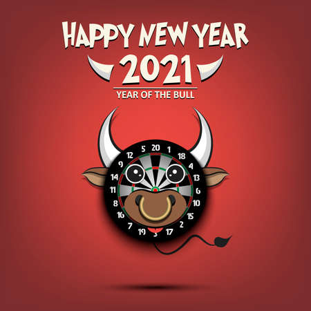 Happy New year. 2021 year of the bull. Cute muzzle bull in the form of a dartboard. Dartboard made in the form of a cow. Greeting card design template with for 2021 new year. Vector illustration