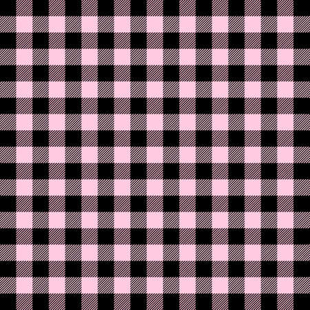 Valentines day tartan plaid. Scottish pattern in black and pink cage. Scottish cage. Traditional Scottish checkered background. Seamless fabric texture. Vector illustration