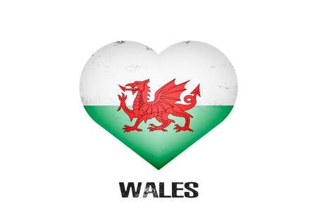 Heart with welsh national flag colors. Flag of Wales in the form of a heart made on an isolated background. Design pattern for greeting card on an Valentines day. Vector illustration Vecteurs