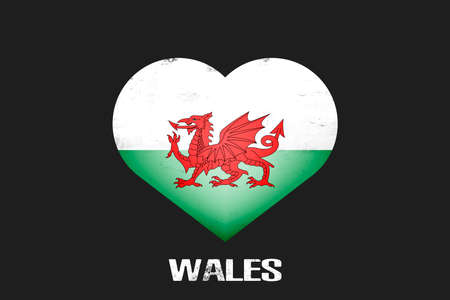 Heart with welsh national flag colors. Flag of Wales in the form of a heart made on an isolated background. Design pattern for greeting card on an Valentines day. Vector illustration