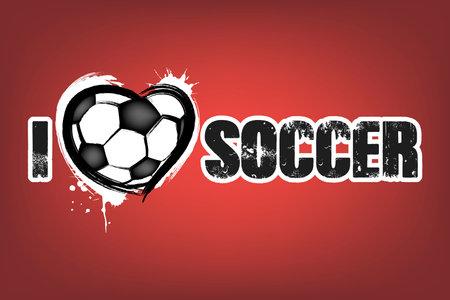 I love soccer. Design pattern on the football theme for greeting card, logo, emblem, banner, poster, flyer, badges. Vector illustration