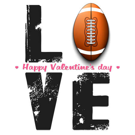 Happy Valentines Day. Love and football ball. Design pattern on the football theme for greeting card, logo, emblem, banner, poster, flyer, badges. Vector illustration