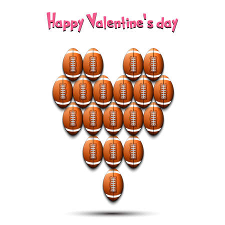 Happy Valentines Day. Football balls located in the form of a heart. Design pattern on the football theme for greeting card, logo, emblem, banner, poster, flyer, badges. Vector illustration Illusztráció
