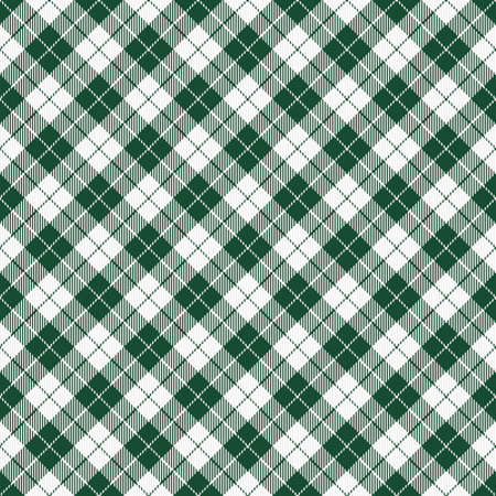St. Patricks day dioganal   plaid. Scottish pattern in green and white cage. Scottish cage. Traditional Scottish checkered background. Seamless fabric texture. Vector illustration