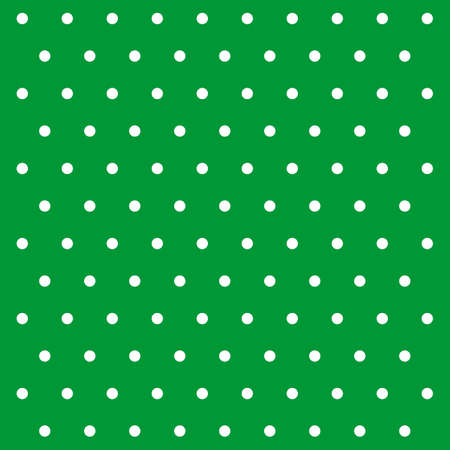 St. Patricks day pattern polka dots. Template background in green and white polka dots. Seamless fabric texture. Vector illustration Illusztráció