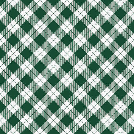 St. Patricks day dioganal tartan plaid. Scottish pattern in green and white cage. Scottish cage. Traditional Scottish checkered background. Seamless fabric texture. Vector illustration
