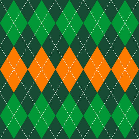 St. Patricks day Argyle plaid. Scottish pattern in green, orange and white rhombuses. Scottish cage. Traditional Scottish background of diamonds. Seamless fabric texture. Vector illustration Illusztráció