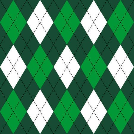 St. Patricks day Argyle plaid. Scottish pattern in green, black and white rhombuses. Scottish cage. Traditional Scottish background of diamonds. Seamless fabric texture. Vector illustration