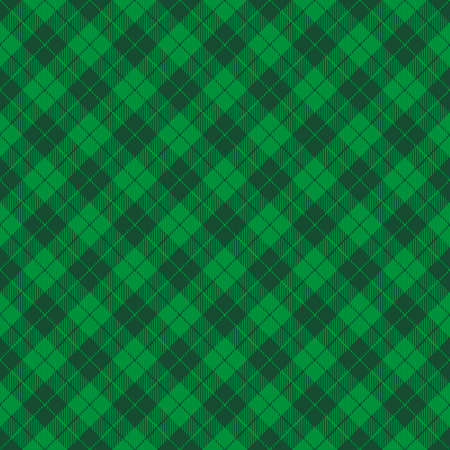 St. Patricks day dioganal tartan plaid. Scottish pattern in green and dark green cage. Scottish cage. Traditional Scottish checkered background. Seamless fabric texture. Vector illustration
