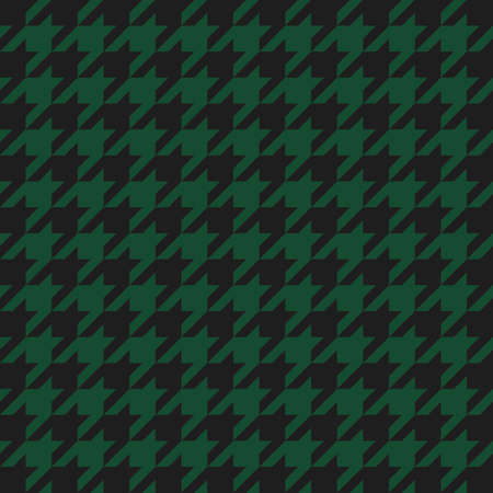 Goose foot. Pattern of crow's feet in black and green cage. Glen plaid. Houndstooth tartan tweed. Dogs tooth. Scottish checkered background. Seamless fabric texture. Vector illustration