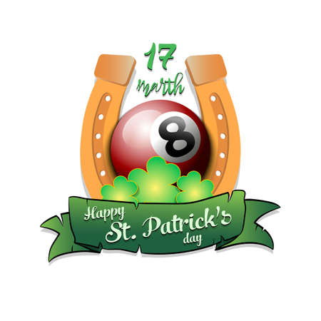 Happy St. Patricks day. Horseshoe, clovers and billiard ball in leprechaun hat on an isolated background.