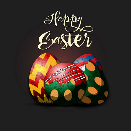 Happy Easter. Easter design template. Easter eggs and cricket ball hatched from an egg on an isolated background. Pattern for greeting card, banner, poster, invitation. Vector illustration