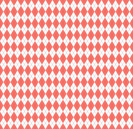 Easter Argyle plaid. Scottish pattern in red and white rhombuses. Scottish cage. Traditional Scottish background of diamonds. Seamless fabric texture. Vector illustration Standard-Bild - 167129498