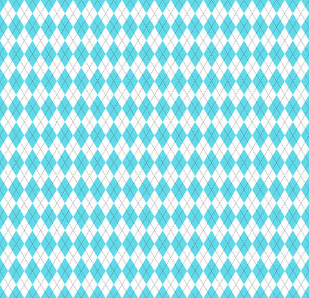 Easter Argyle plaid. Scottish pattern in blue and white rhombuses. Scottish cage. Traditional Scottish background of diamonds. Seamless fabric texture. Vector illustration