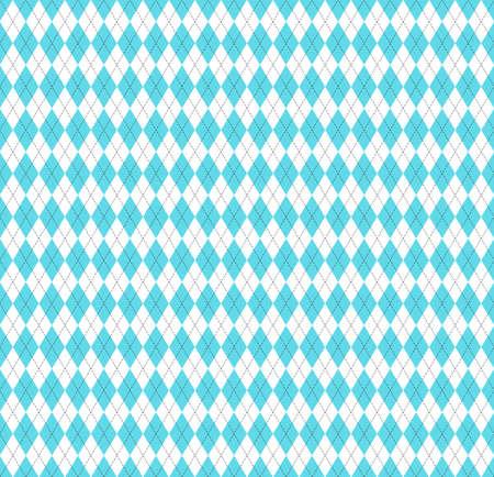 复活节argyle格子。蓝色和白色菱形的苏格兰模式。苏格兰笼子。钻石传统苏格兰背景。无缝的织品纹理。矢量图