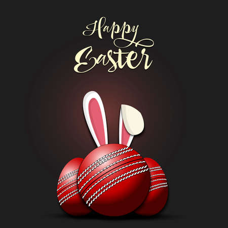 Happy Easter. Cricket ball with ears rabbit. Easter eggs decorated in the form of a cricket ball on an isolated background. Pattern for greeting card, banner, poster, invitation. Vector illustration