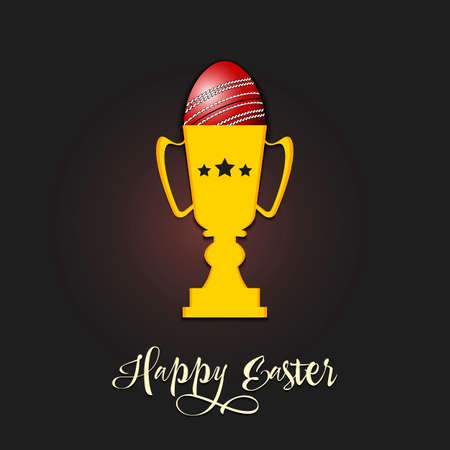 Happy Easter. Egg decorated in the form of a cricket ball in goblet on an isolated background. Pattern for greeting card, banner, poster, invitation. Vector illustration