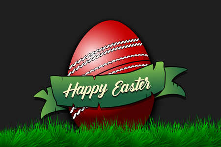 Happy Easter. Egg decorated in the form of a cricket ball with ribbon on grass. Pattern for greeting card, banner, poster, invitation. Vector illustration