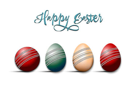 Happy Easter. Cricket ball and eggs decorated in the form of a cricket ball on an isolated background. Pattern for greeting card, banner, poster, invitation. Vector illustration 向量圖像