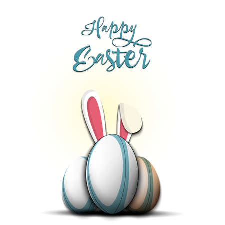 Happy Easter. Soccer ball with ears rabbit. Easter eggs decorated in the form of a soccer ball on an isolated background. Pattern for greeting card, banner, poster, invitation. Vector illustration