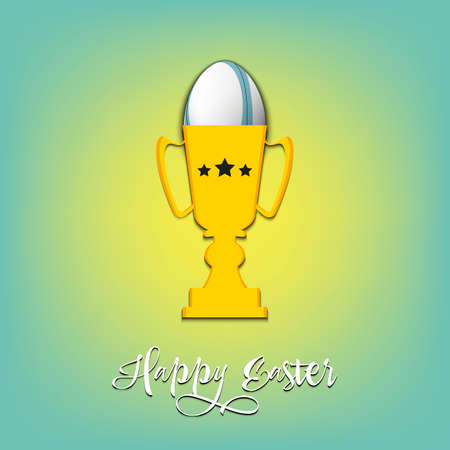 Happy Easter. Egg decorated in the form of a soccer ball in goblet on an isolated background. Pattern for greeting card, banner, poster, invitation. Vector illustration 向量圖像