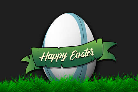 Happy Easter. Egg decorated in the form of a rugby ball with ribbon on grass. Pattern for greeting card, banner, poster, invitation. Vector illustration