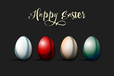 Happy Easter. Rugby ball and eggs decorated in the form of a rugby ball on an isolated background. Pattern for greeting card, banner, poster, invitation. Vector illustration