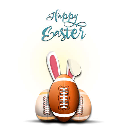 Happy Easter. Football ball with ears rabbit. Easter eggs decorated in the form of a football ball on an isolated background. Pattern for greeting card, banner, poster, invitation. Vector illustration