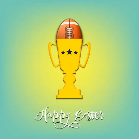 Happy Easter. Egg decorated in the form of a football ball in goblet on an isolated background. Pattern for greeting card, banner, poster, invitation. Vector illustration