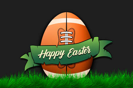 Happy Easter. Egg decorated in the form of a football ball with ribbon on grass. Pattern for greeting card, banner, poster, invitation. Vector illustration 向量圖像
