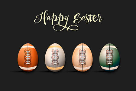 Happy Easter. Football ball and eggs decorated in the form of a football ball on an isolated background. Pattern for greeting card, banner, poster, invitation. Vector illustration