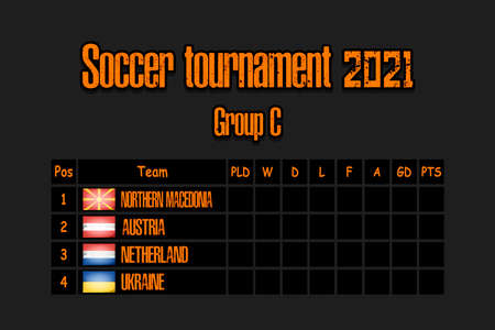 Soccer tournament 2021. Design pattern standings football championship group C. Countries flags. Vector illustration 向量圖像