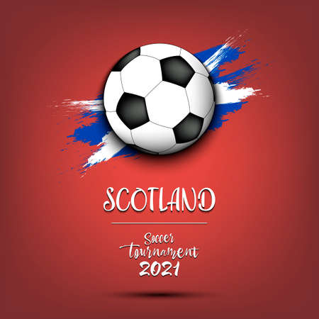 Soccer tournament 2021. Soccer ball on the background of the flag of Scotland. Design pattern on the football theme for logo, emblem, banner, poster, flyer, badges, t-shirt. Vector illustration 向量圖像
