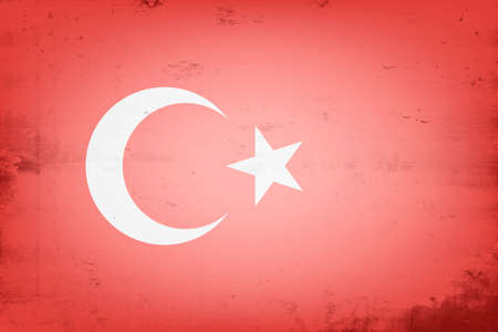 National flag of Turkey. Vintage background. Grunge texture. Banner design pattern. Vector illustration
