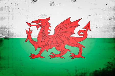 National flag of Wales. Vintage background. Grunge texture. Banner design pattern. Vector illustration